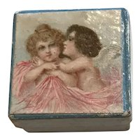 Tiny 19th Century Square Cherub Trinket Box for Dolls