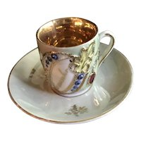 """Victorian Miniature Luster Cup & Saucer - """"Remember Me"""""""