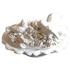 Italian Pottery Lidded Pin Dish - Nesting Birds