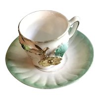"Miniature Souvenir Footed Cup and Saucer - ""Remember Me"""