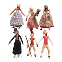 Six Crepe Paper Wrapped  Danish Dolls for Your Christmas Tree