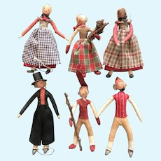 Six Crepe Paper Wrapped Wire Danish Dolls in Traditional Costume