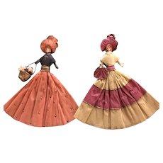 Pair of Handmade Crepe Paper Dolls