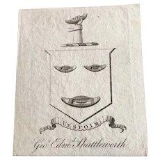 """Ex Libris """"Geo. Edmd. Shuttleworth"""" -  19th Century Bookplate"""