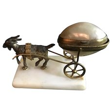 Palais Royale Mother of Pearl Thimble Holder on a Goat Cart