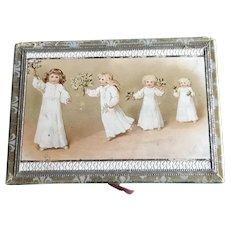 19th c Child's Handkerchief Box with Hankies for Christmas