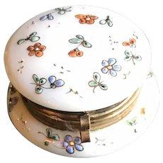 19thc  Glass Powder Jar with Enamelled Sprigs