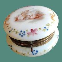19thc Enameled Glass Powder Jar with Cherubs for Valentine's Day