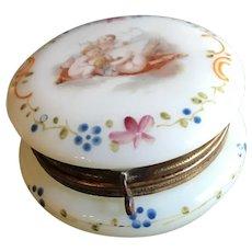 19thc Enameled Glass Powder Jar with Cherubs
