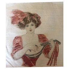 Pair of Edwardian Prints on Cotton