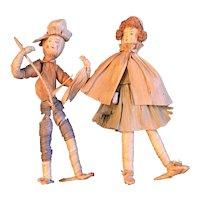 Pair of Vintage Corn Husk Dolls—LRRH and The Farmer