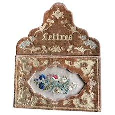 19th Century French Embossed Velvet Letter Pocket