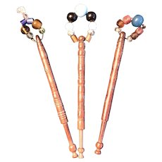 Three Mid 19thc English Lace Bobbins with Early Beads