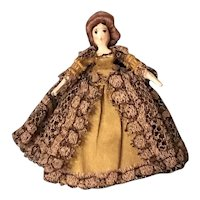 Tiny Grodnertal Doll with Wig