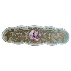 Mid 19th Century Green Textile Label -