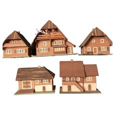 5 Erzgebirge Houses for Tree or Lighted Putz Display