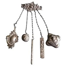 Victorian Sterling Silver 5 Piece Dance/Sewing Chatelaine