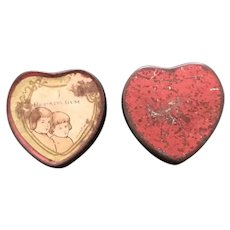1920's Huyler's Sweetheart Pepsin Gum Heart Shaped Tin