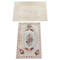 1870's Mansell Paper Lace Valentine with Cancelled Stamp Envelope