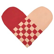 19th Century Woven Paper Heart Token of Affection