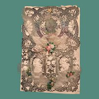Elaborate 1870's Silvered Lace Valentine with Feathers