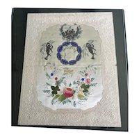1840's Silk Center Valentine and Envelope