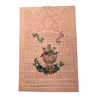 1850's Mossman Valentine with Paper Flowers and Leaves