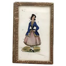 1850's Eglomise Patch Box - Forget Me Not