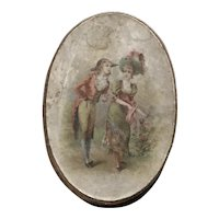 19thc Oval Trinket Box for Doll Display - Courting  Couple