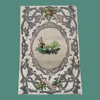 1850's Unmarked Paper Lace Valentine  with Shepherd and Sheep