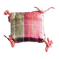 19thc Tiny Feather Stitched Plaid Pin Cushion