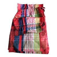 19th Century Plaid Silk Sewing Bag with Provenance