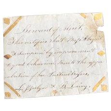 Early 19thc Hand Written & Decorated  Reward of Merit