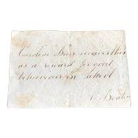 Early 19thc  Hand Written Reward of Merit