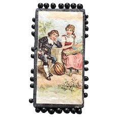 19thc German Glass Head Pin Card- Two Musicians