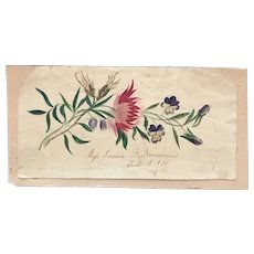 Early 19thc  Hand Painted Floral Memento for Spring