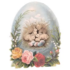 Victorian Lithograph Easter Egg Advertising Die Cut for Doll Display