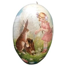 Early 20thc German Paper Mache Easter Egg - Little Girl with Rabbits