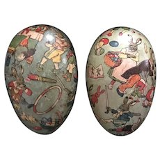 Late 19th/Early 20thc Paper Mache Egg Candy Container with Steiff Bunny Inside