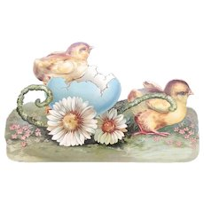 Late 19th/Early 20thc Embossed Easter Die Cut - Chicks with their Daisy Cart
