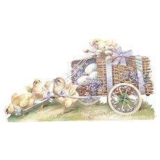 Late 19th/Early 20thc Embossed Easter Die Cut - A Cheerful Easter