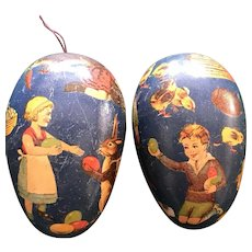Late 19th/Early 20thc  German Paper Mache Easter Egg Candy Container for Doll Display - The Egg Hunt