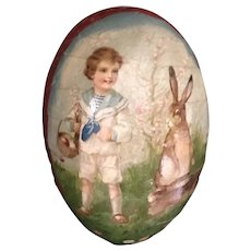 Early 20thc  Paper Mache Easter Egg Candy Container for Doll Display --Boy & Bunny