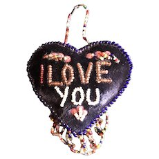 20thc Iroquois Beaded Velvet Heart Pin Cushion - I Love You