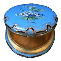 19thc French  Kiln Fired Enamel on Copper Powder Box