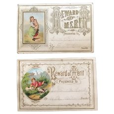 Pair of 1870's Rewards of Merit with Chromolithographs of Children and Cats