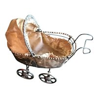 Early 20th c Miniature Wire Doll Carriage