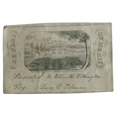 Mid 19thc Hand Colored Reward of Merit - Cottage by the Lake