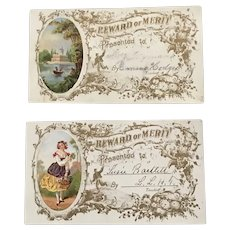 Pair of 1870's Rewards of Merit with Chromolithographs