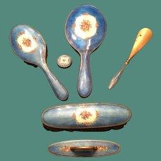 1930's Austrian Blue Guilloche Enamel 7 Piece Vanity Set